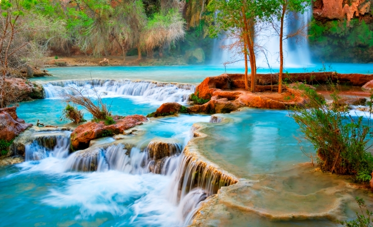 Pools at base of Havasu Falls. Havasupai Indian Reservation