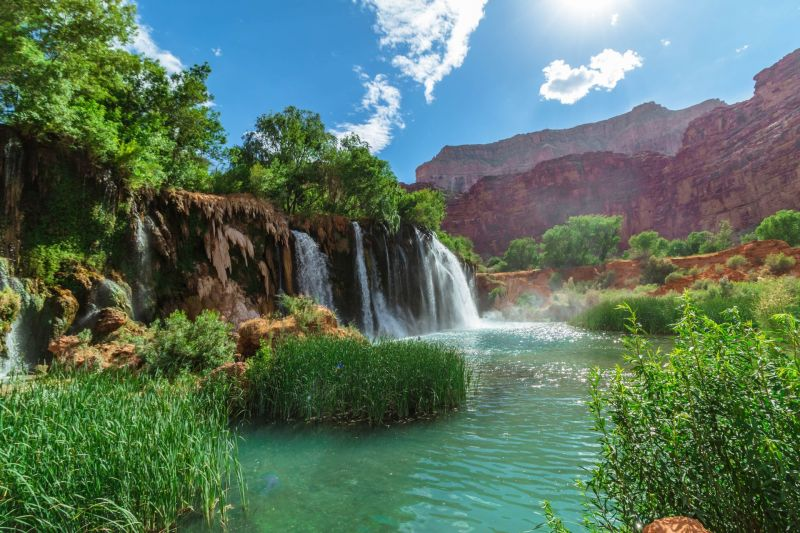 Die Upper Falls im Havasupai Reservat im Grand Canyon