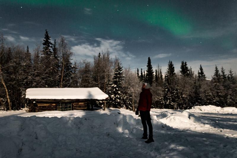 Nordlichter in Alaska im Winter sehen